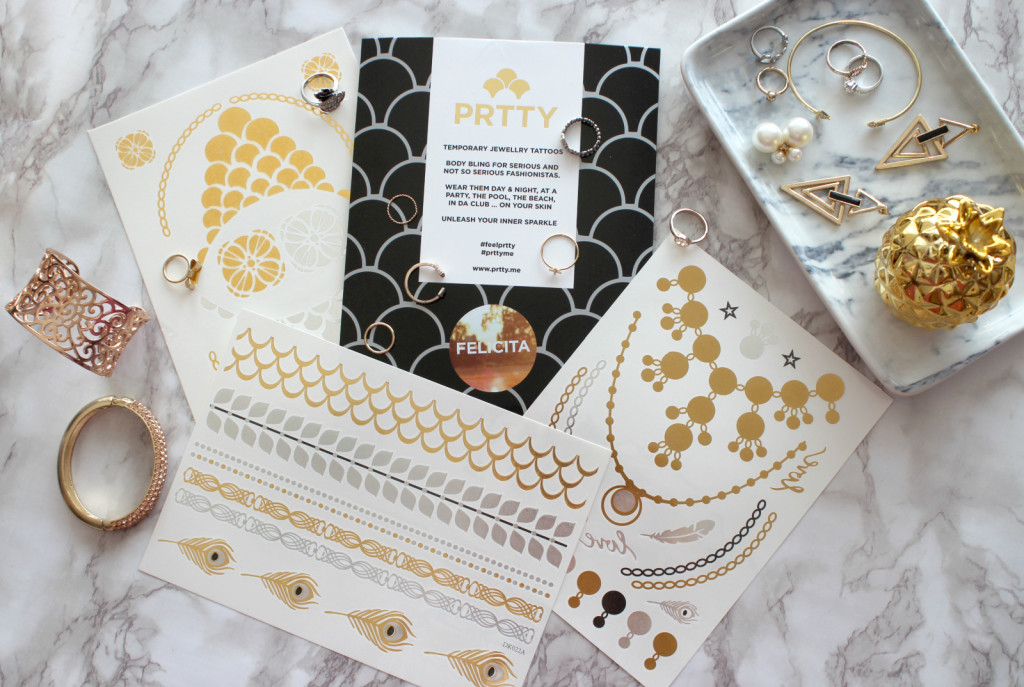 Prtty Temporary Jewelry Tattoos in gold & silber