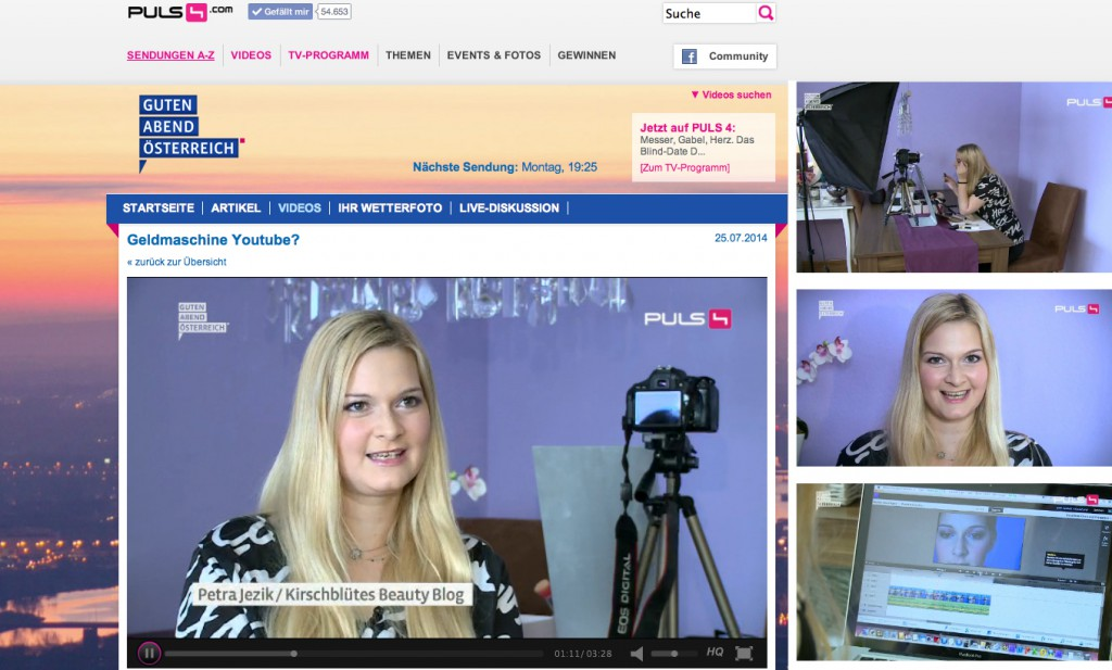 Puls 4 guten Abend Osterreich Geldmaschine Youtube Petra Kirschbluetenblog beauty blog wien