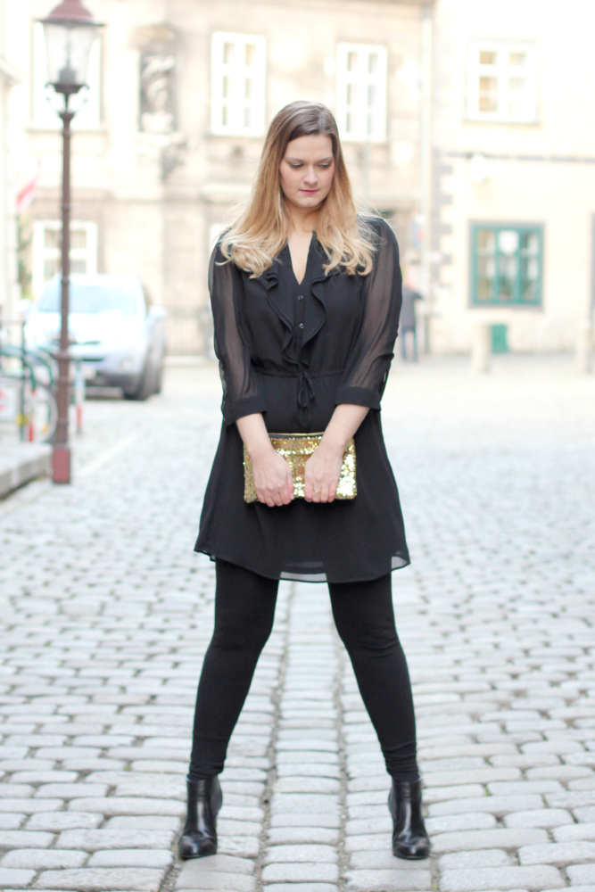 Blogger Outfit Black Glam Dress Fashionblogger