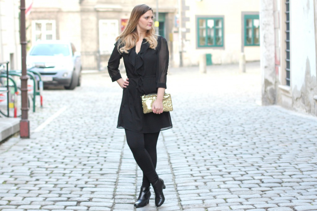 Blogger Outfit Black Glam Dress Fashionblogger Outfit of the Day