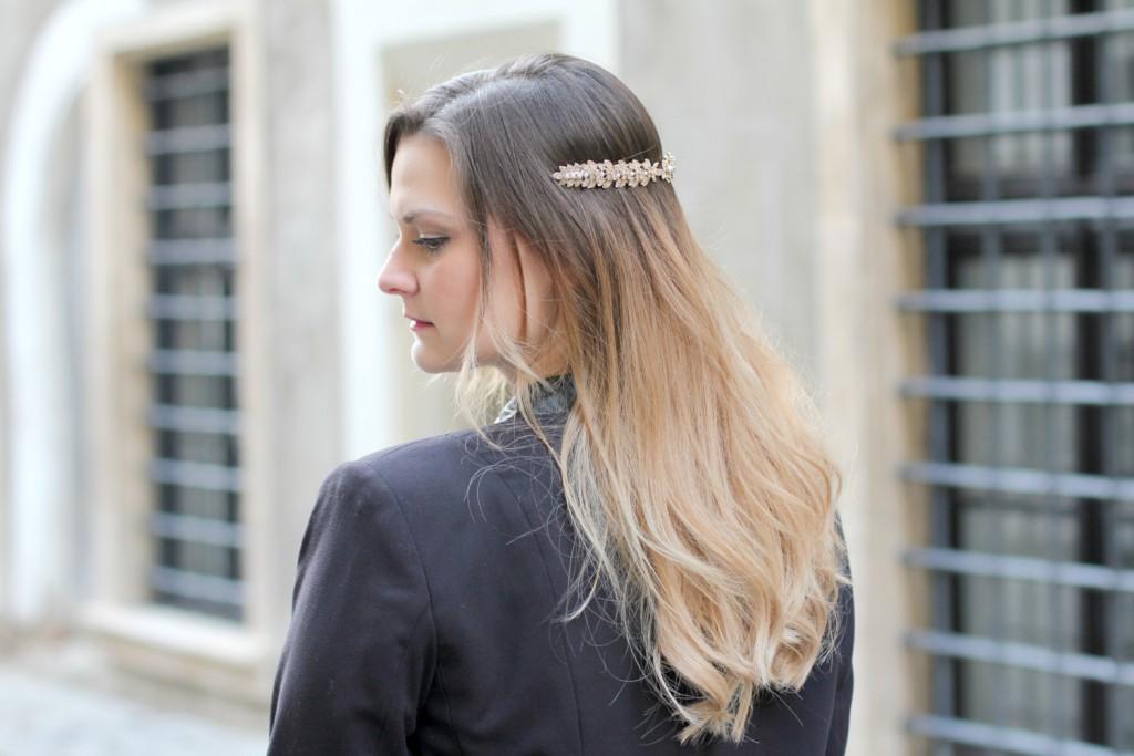 Blogger Outfit Zara Haarschmuck Ombre Hair