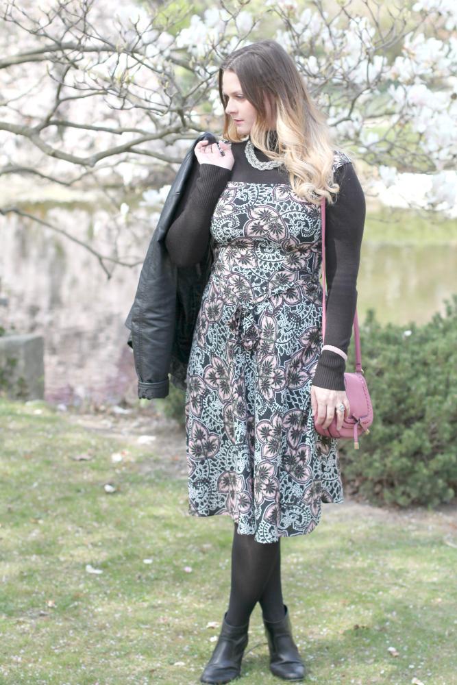 Blogger Outfit 90er Lederjacke Kleid