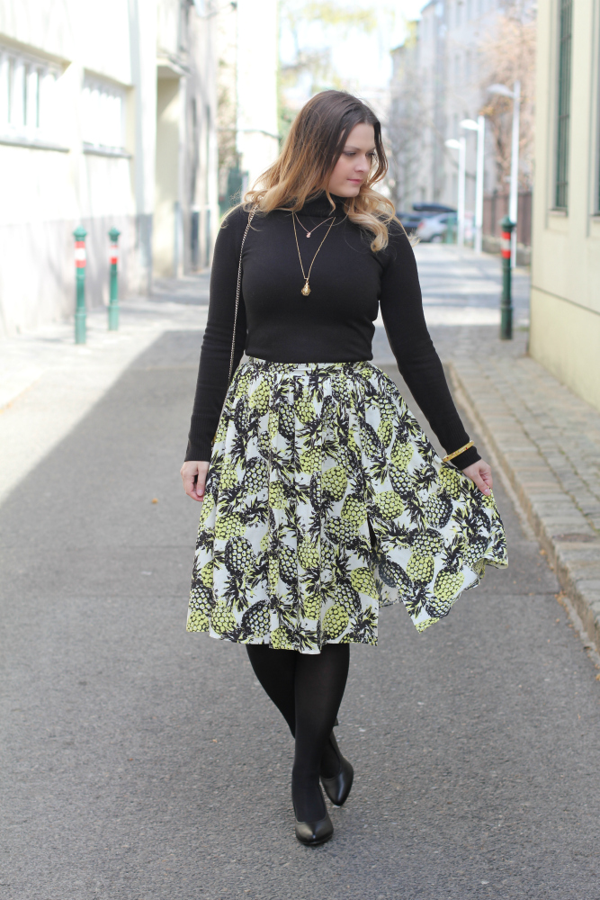 Blogger Outfit Midi Rock Ananas Spring Look
