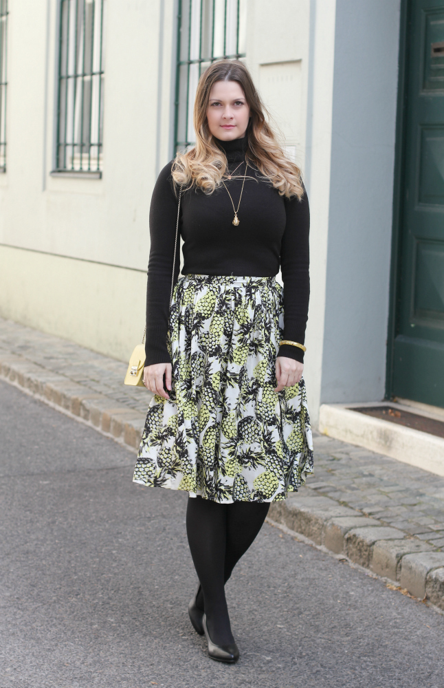 Blogger Outfit Midi Rock Ananas Springlook