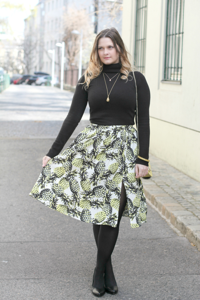 Outfit Midi Rock Ananas Spring Blogger Look