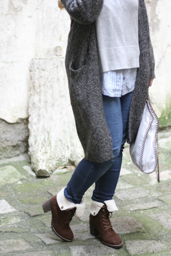 Blogger Cardigan Cozy Outfit Falabella Stella Bag beige Boots