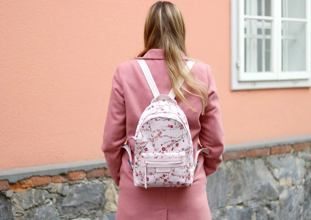 Blogger Outfit Pink Coat Longchamp Cherry Blossom Backpack Rucksack