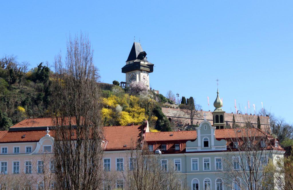 Graz Sicht auf Schlossberg Uhrturm