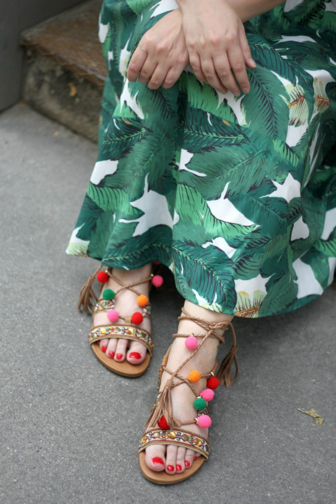 Palm Dress Pom Pom Sandals Bommel Sandalen Deichmann Blogger Outfit Fashionblog Wien