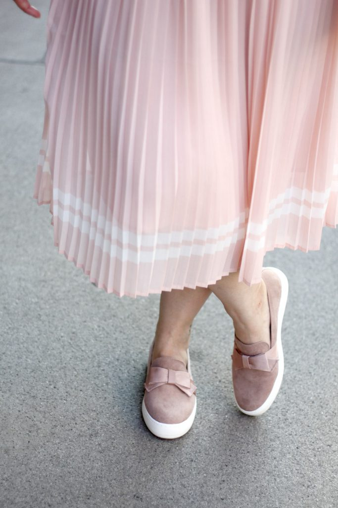 Deichmann Loafer pink Blogger Outfit Midiskirt