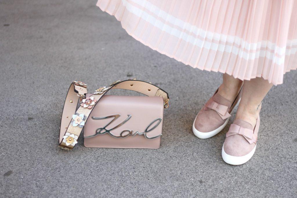 Deichmann Loafer pink Blogger Outfit Midiskirt Karl Lagerfeld Itbag Hallhuber Schulterriemen Blumen Deichmann Loafers Blogger Outfit