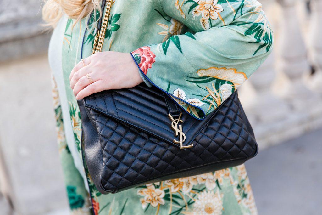 Outfit YSL bag green Zara Kimono Seiden Cardigan Modeblog Wien