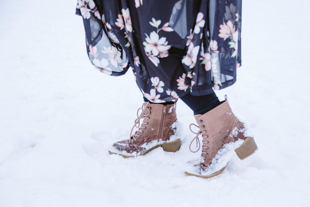 Blogger Outfit Fashionblog Wien Blumenkleid Winter Deichmann Boots rosa