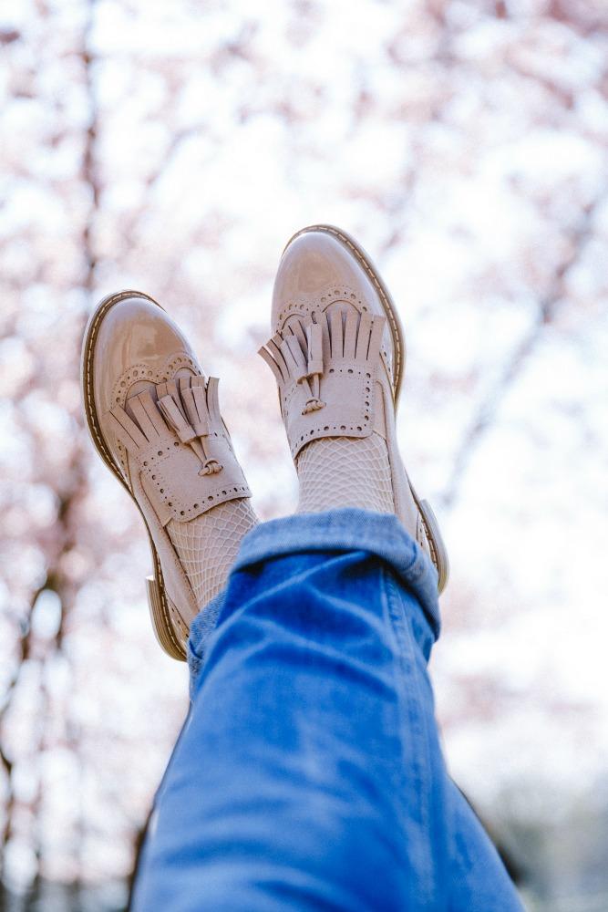 Kirschblueten Shooting Deichmann Schuhe Loafers Budapester Fransenschuhe
