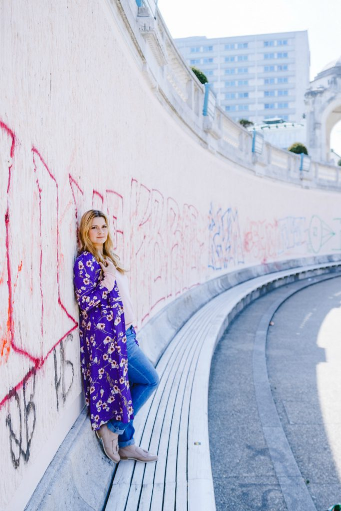 Outfit Kirschbluetenkleid Mango Kleid Cardigan ultraviolet