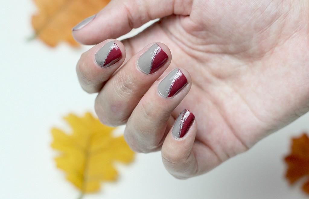 {DIY} Herbstmaniküre in dunkelrot und grau