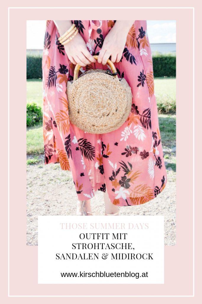 sommer outfit midirock flower strohtasche straw bag bambus midirock gold sandalen blogger fashionblog wien