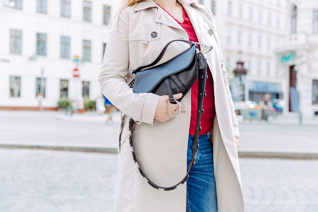 dior saddle bag outfit trenchcoat
