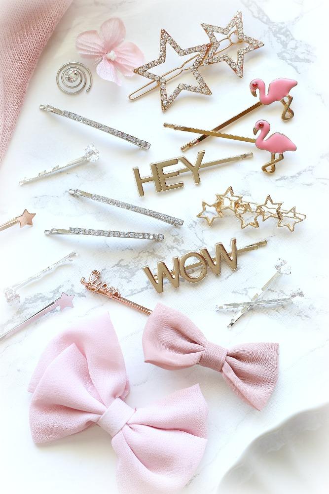 Hair Pins Hairstyle Haarspangen Perlen Strass Flamingo Sterne Masche Schleife