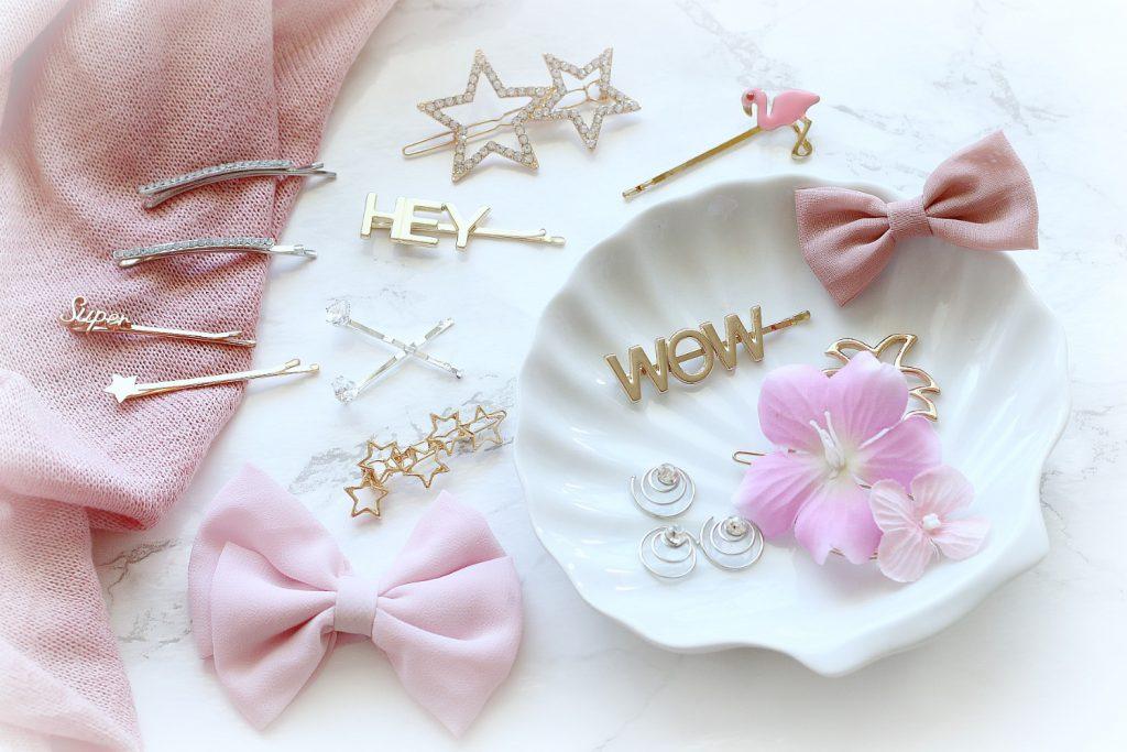 Hair Pins Hairstyle Haarspangen Perlen Strass Masche Sterne WOW HEY Schriftzug Buchstaben