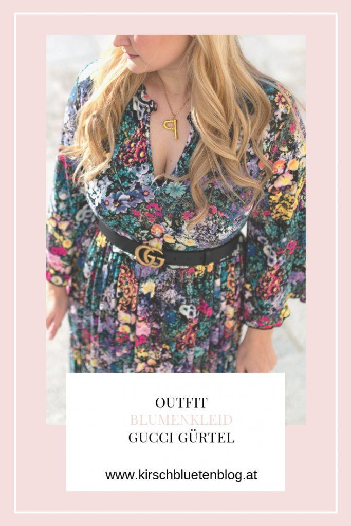 Blogger Fashion Outfit Celine Buchstabe Kette Blumenkleid Fashionblog Flowerdress Maxidress Gucci Belt