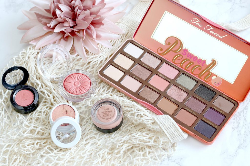 too faced peach palette clinique ginger pop mac paintpot perky colorpop living coral make up